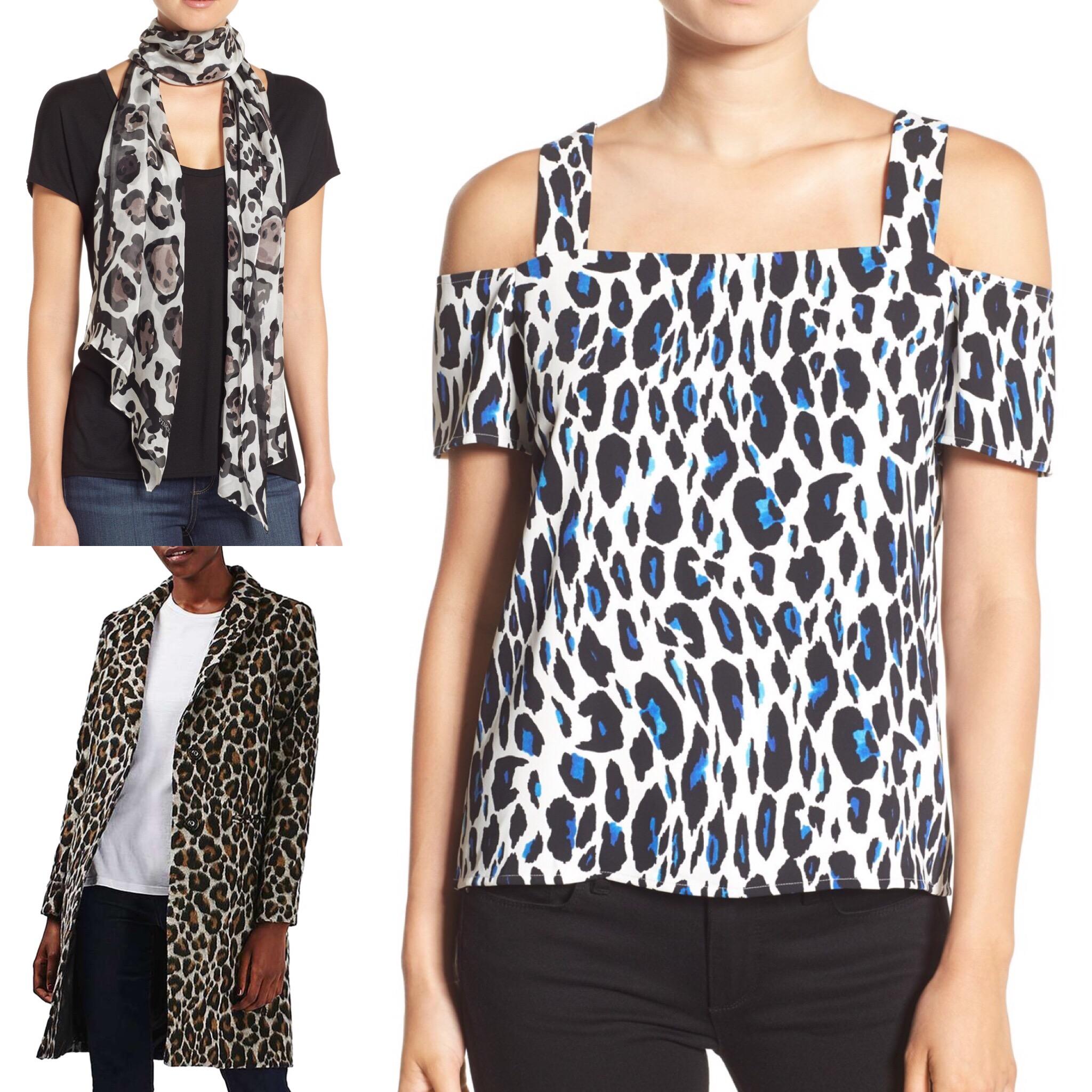 30a3f8d3759 Leopard Print Silk Scarf  Vince Camuto    Leopard Print Car Coat  Topshop      Ava  Cold Shoulder Top  cooper   ella